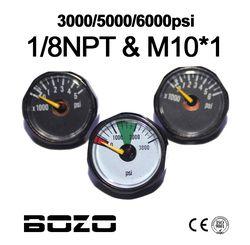 Paintball Airsoft PCP AirGun Mini 25mm 3000psi 5000psi 6000psi Manometer Gauge 1/8NPT M10*1