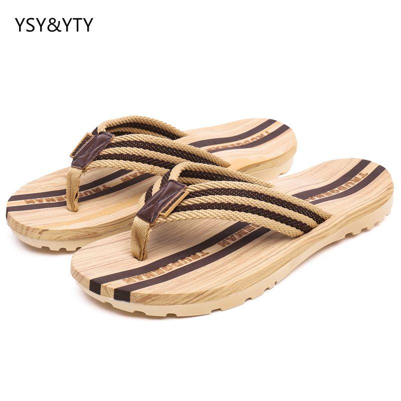 2019 nouveau été en bois tongs d'été sandales pieds anti-dérapant plat sandales plage chaussures couple pantoufles
