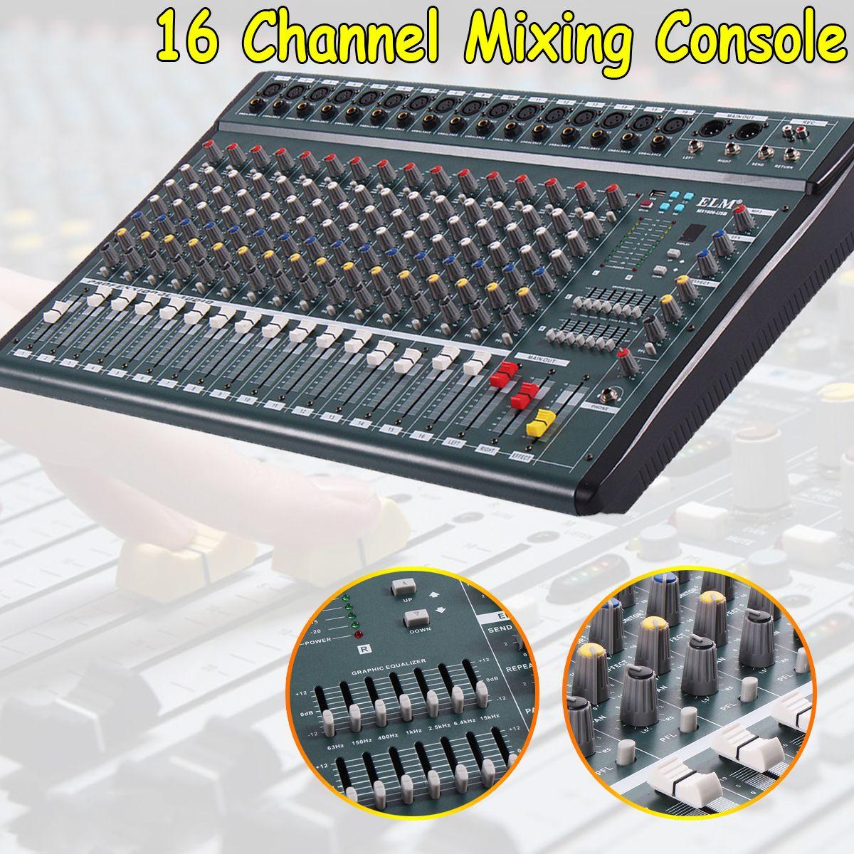 16 kanal 110 v-220 v Karaoke Audio Mixer Verstärker Mini Mikrofon Sound Mischpult Mit USB Phantom Power