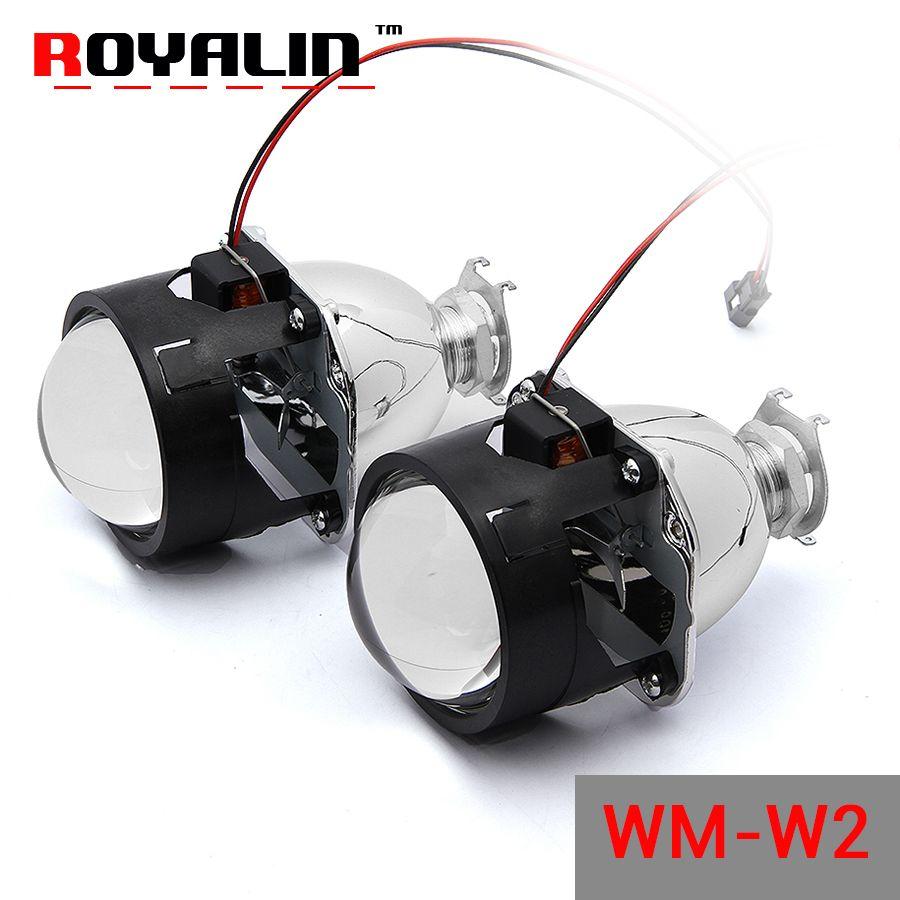 Royalin WM W2 автомобилей галогенные объектив H1 Мини HID би ксенон проектор 2.5 ''для H4 H7 Мотоцикл Авто налобный фонарь модернизации Оптические стёкл...