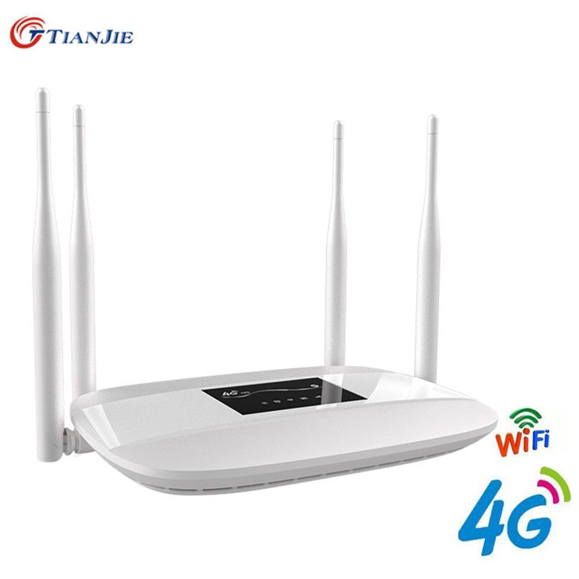 4G LTE WiFi Router 300Mbps Wireless Broadand 4G 3G Wi-Fi Mobile Hotspots CPE with SIM Slot 4LAN Ports 32 Users