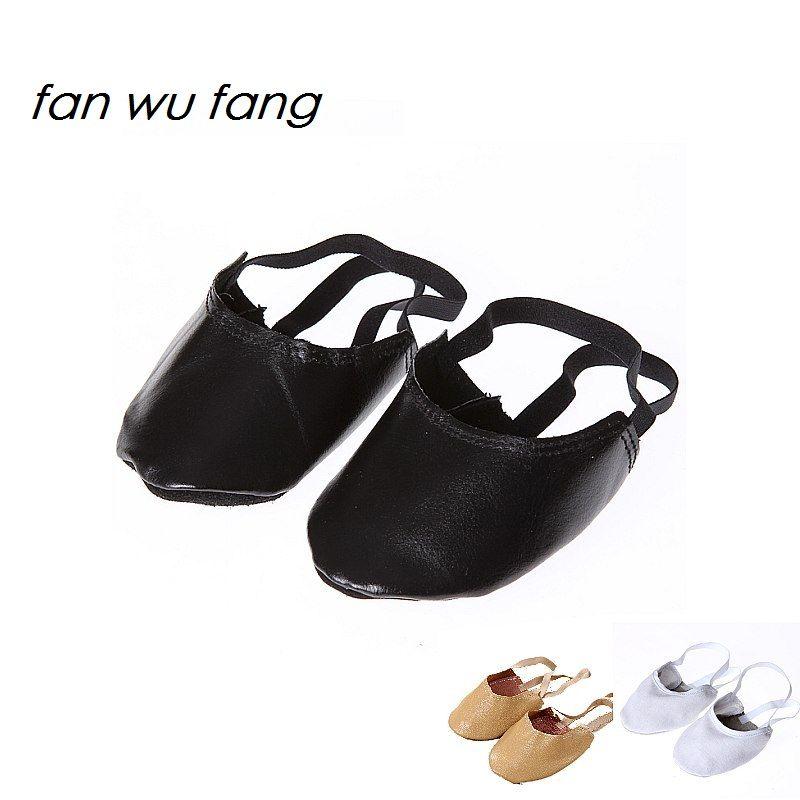 Fan wu fang nouveau cuir toile Beige blanc noir rythmique gymnastique demi chaussures artistique Gym chaussures Ballet orteil chaussures pantoufles