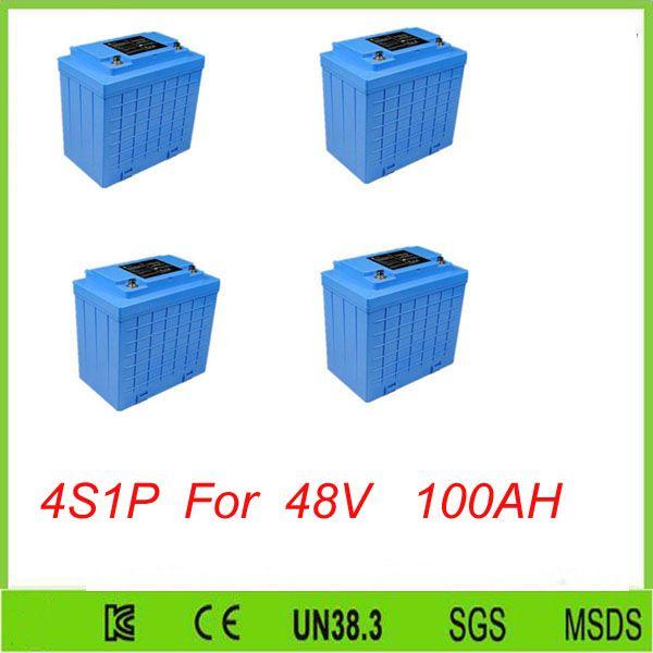 Envío gratis 4 unids lifepo4 4S1P de Alta velocidad 12 V 100ah recargable li-ion batería Para herramientas eléctricas 48 V 100AH lifepo4 batería