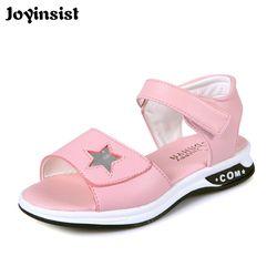 Сандалии для девочек 2018 новая пляжная обувь на плоской подошве для девочек в Корейском стиле Летняя детская обувь для принцессы