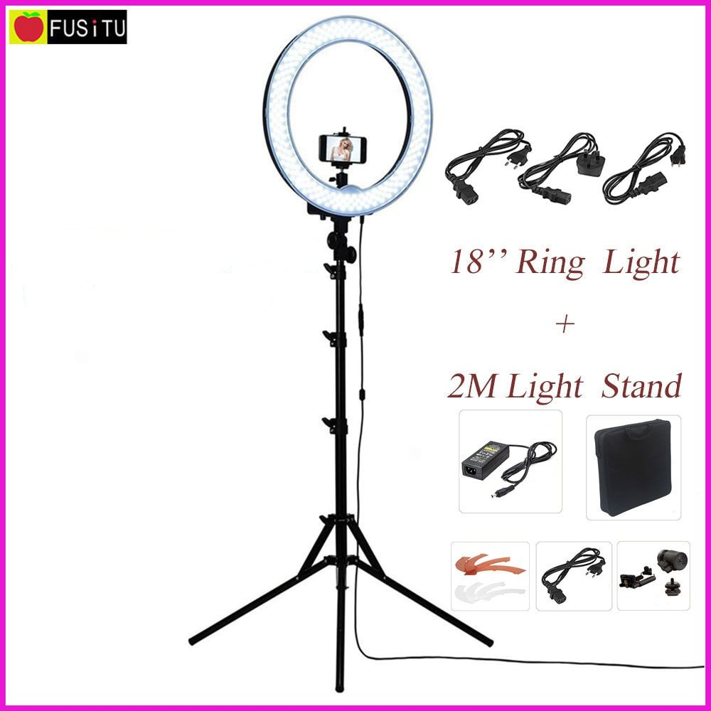 Fusitu 18 RL-18 Outdoor Dimmable Photo Video LED Ring Light Kit with 2M Tripod Light Stand for DSLR Camera Smartphones