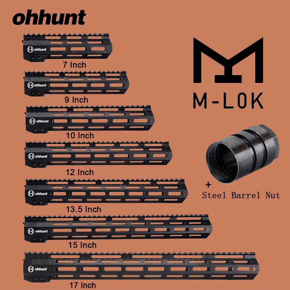 ohhunt <font><b>Tactical</b></font> M-LOK Handguard Rail 7 9 10 12 13.5 15 17 M LOK Free Float Picatinny Rail Bracket with Steel Barrel Nut