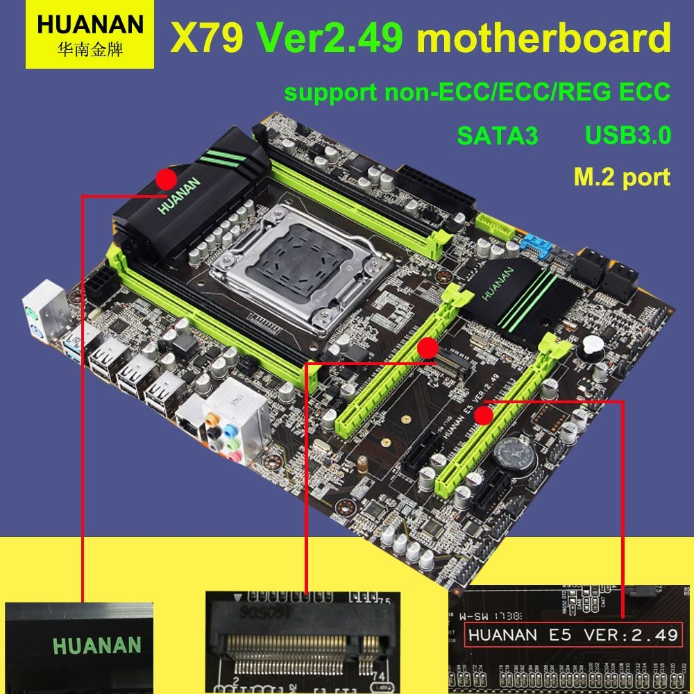 Hot sale version 2.49 HUANAN X79 motherboard USB3.0 X79 LGA 2011 ATX SATA3 4 channel DDR3 memory tested before shipping
