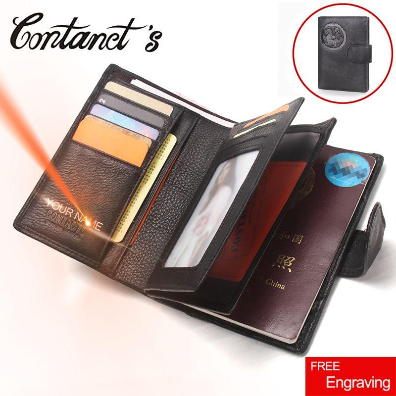 2018 Passport Wallet Men Genuine Leather Travel Passport Cover Case Document Holder <font><b>Large</b></font> Capacity Credit Card Holder Coin Purse