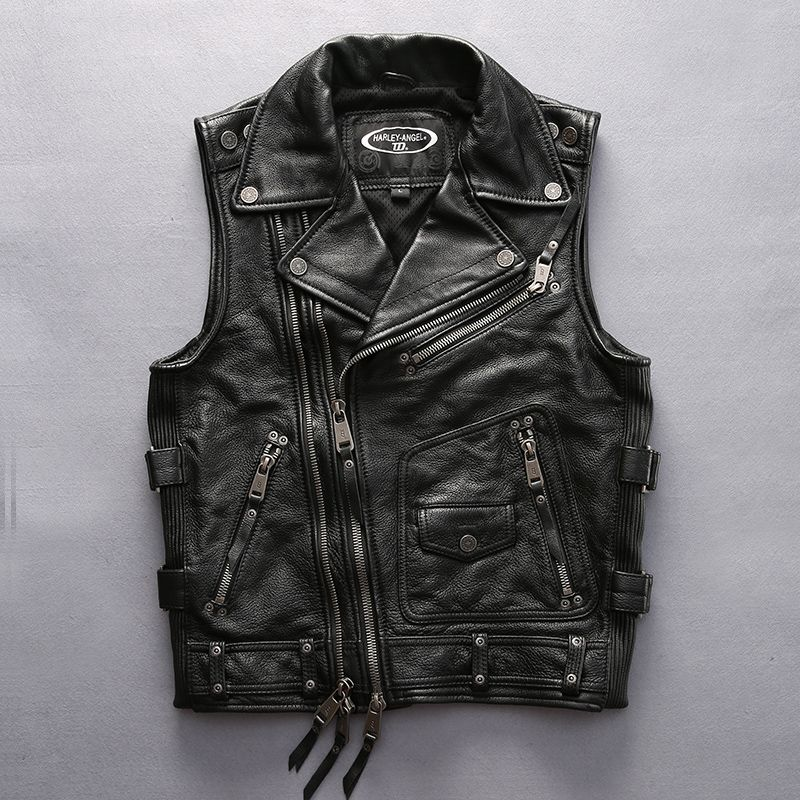 super quality For cool Harley rider Mens cow leather vest genuine cowhide leather motorcycle rider vest HA-102