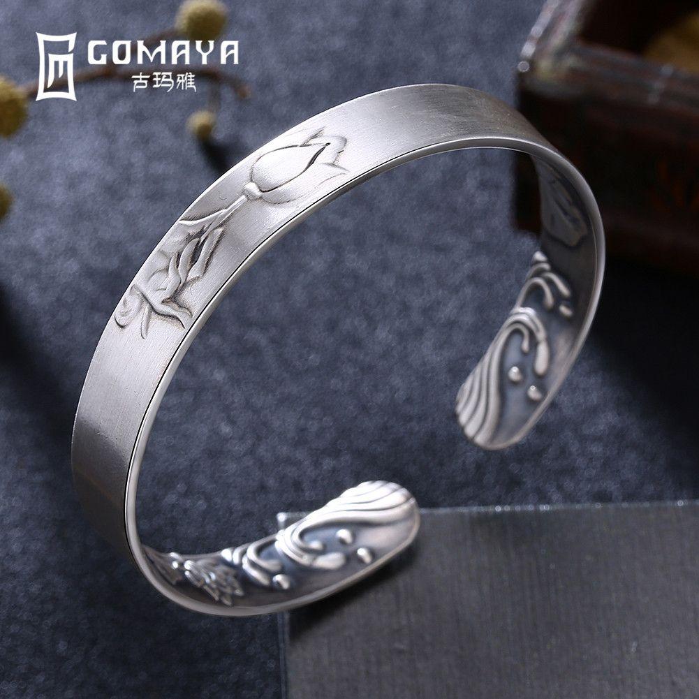 GOMAYA 999 Sterling Silver Rose Flower Bangles for Women Fine Jewelry Engagement Bracelets Popular Birthday Gift for Lady