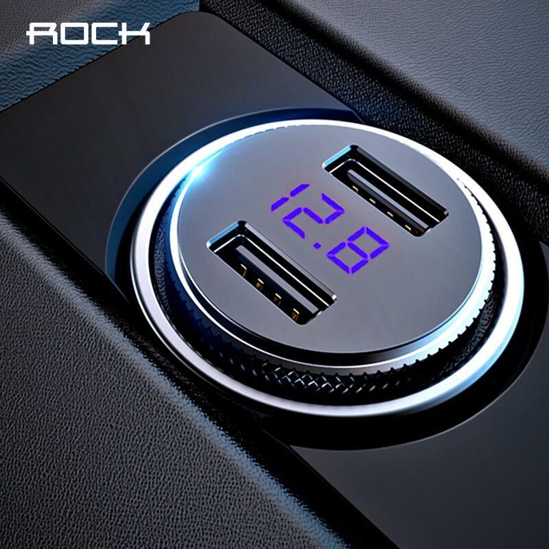 Chargeur de voiture USB double affichage numérique ROCK 5 V 3.4A pour iPhone X max 8 7 Xiaomi Samsung surveillance de tension de charge rapide universel