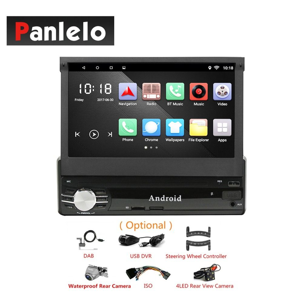 Auto Audio Android 1 Din GPS Navigation Teleskop 7 zoll Touch Screen Spiegel Link Bluetooth WIFI Quad Core 6,0 Auto Stereo + ISO