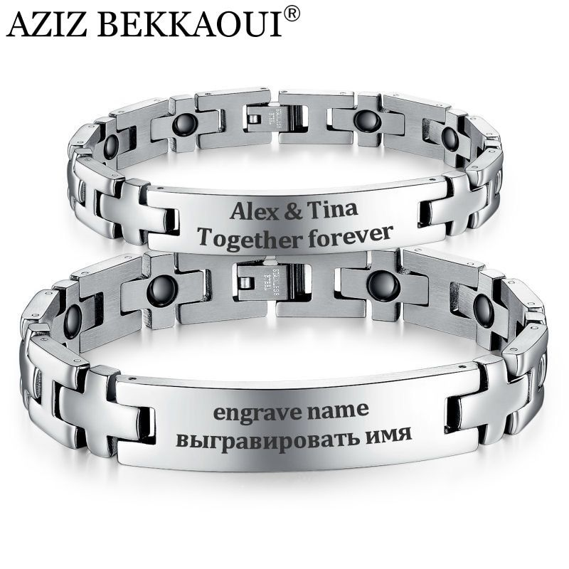 Healthy Magnetic Bracelets & Bangles Stainless Steel Jewelry For Men Women Couple Bracelet Cross Shape Engrave Name ID Jewelry