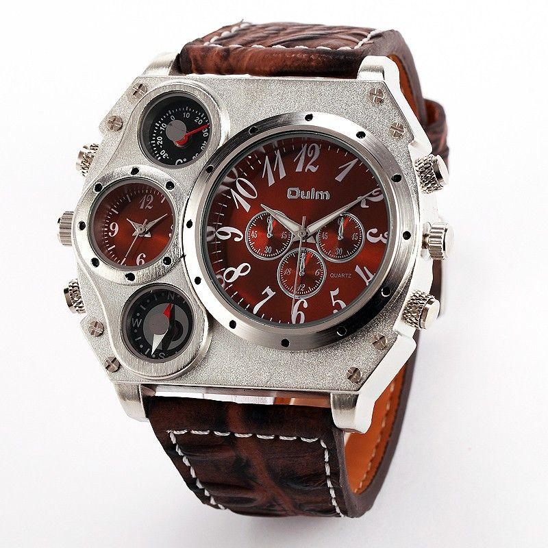 Oulm 1349 Reloj Hombre hommes double mouvement sport militaire montre avec boussole thermomètre décoration mâle horloge Relogio Masculino
