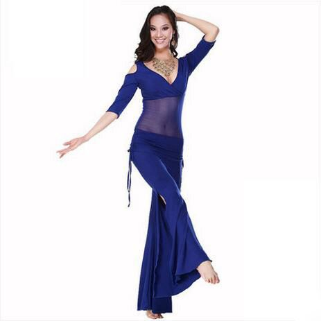 Offre spéciale nouveau Haft-manches v-cou ensemble de danse du ventre lait soie danse du ventre Costumes femmes pour danseuse vêtements haut et pantalon