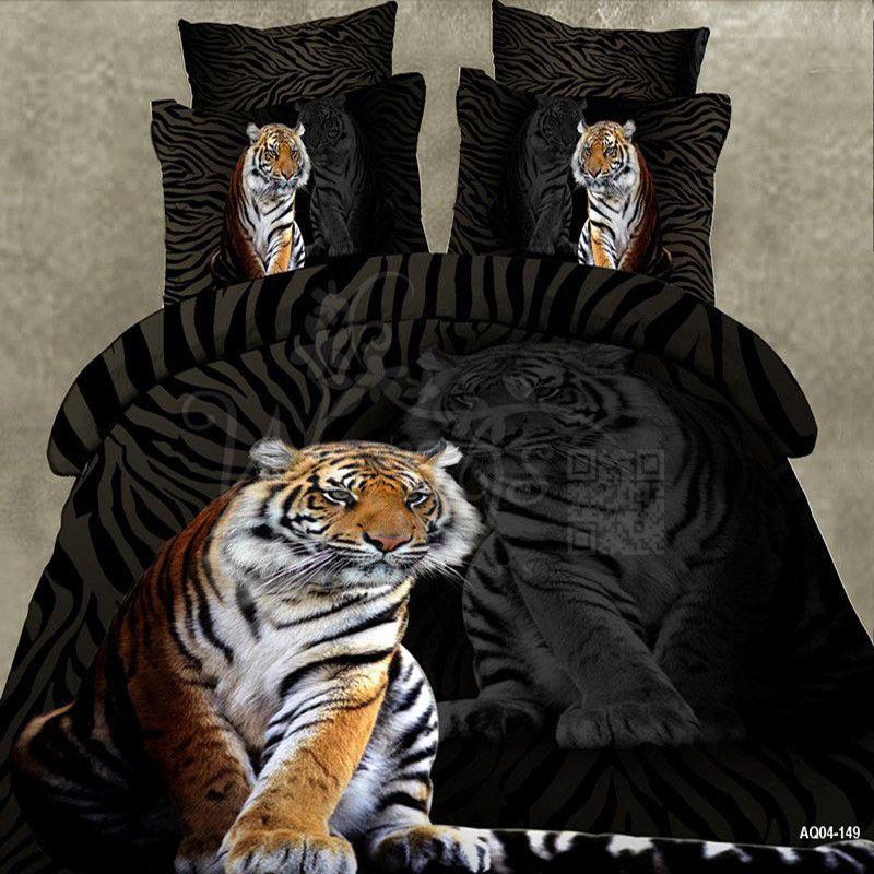 Wongs literie marque 3D bande dessinée ensembles de literie tigre Animal housse de couette noir linge de lit Double reine King Size 3/4 pièces