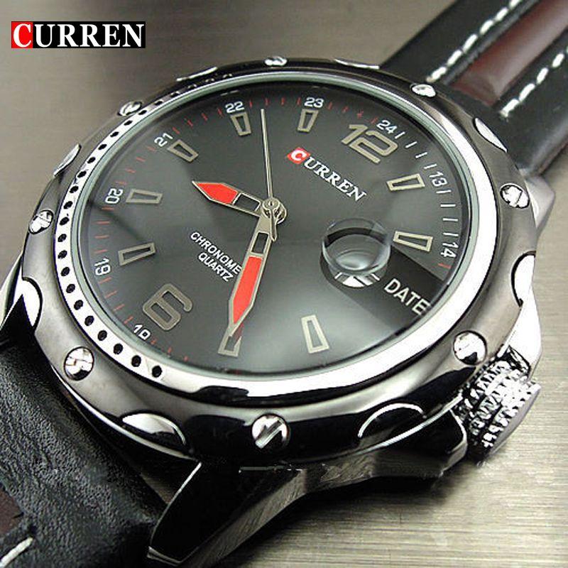 Nueva moda Curren marca hombre reloj hombre fecha mano negro marrón cuero correas mens cuarzo reloj 3ATM reloj impermeable