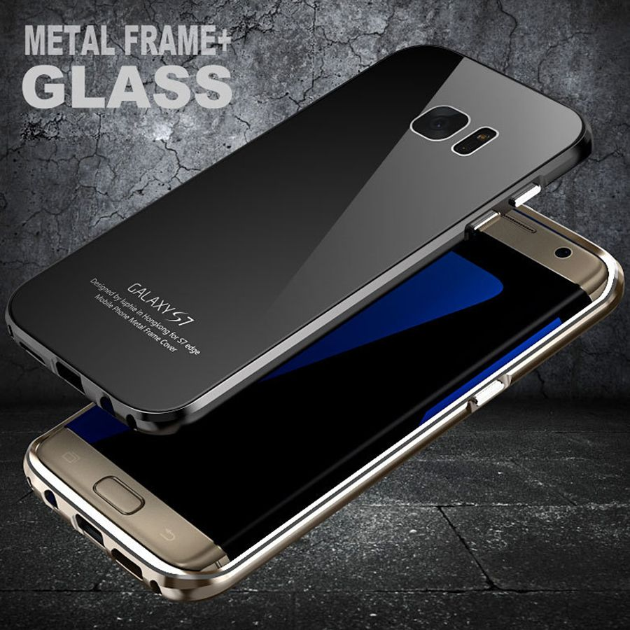 Luphie for samsung galaxy s7 case metal frame for samsung galaxy s6 case luxury s7 edge cases with tempered glass back cover
