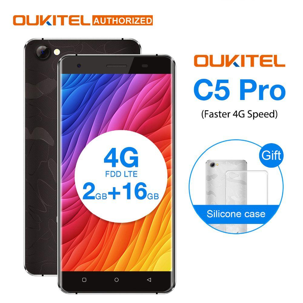 OUKITEL C5 PRO 5.0 inch Android 6.0 4G Smartphone 2GB+16GB MTK6737 Quad Core Cellphone 2000mAh GPS Mobile Phone Dual Micro SIM