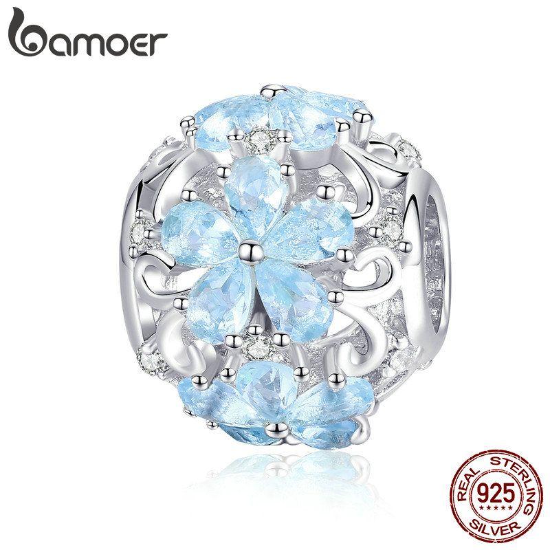 BAMOER Winter Sammlung 925 Sterling Silber Elegante Schneeflocke Perlen Licht Blau CZ Charms fit Charme Armbänder DIY Schmuck SCC941