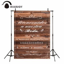 Allenjoy vinyl photography theme background wedding Brown wooden board custom Spain style Vertical Patterns backdrop photocall