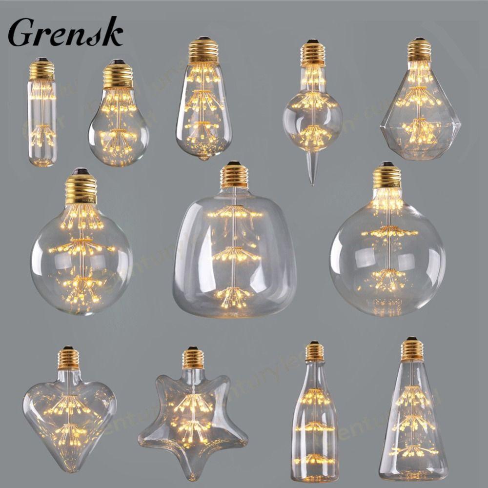 Grensk Dimmable Feux D'artifice led Ampoule 3 w 2200 k Edison Led Filament Ampoule E27 220 v Vin Bouteille De Noël Lumières lampe Lampada Led ST64