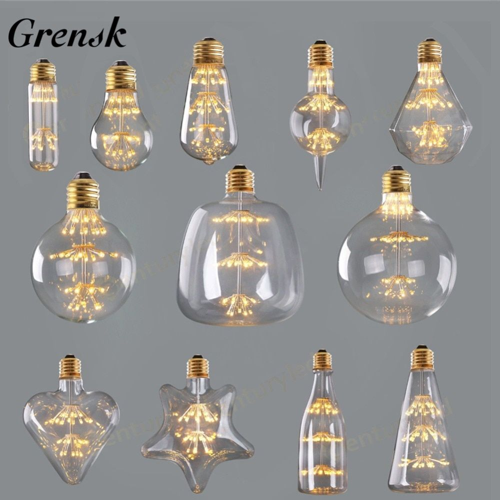 Grensk Dimmable Feux D'artifice led Ampoule 3 w 2200 k Edison Led Filament Lumière Ampoules E27 220 v Décoratif De Noël Lampe lampadas Led ST64