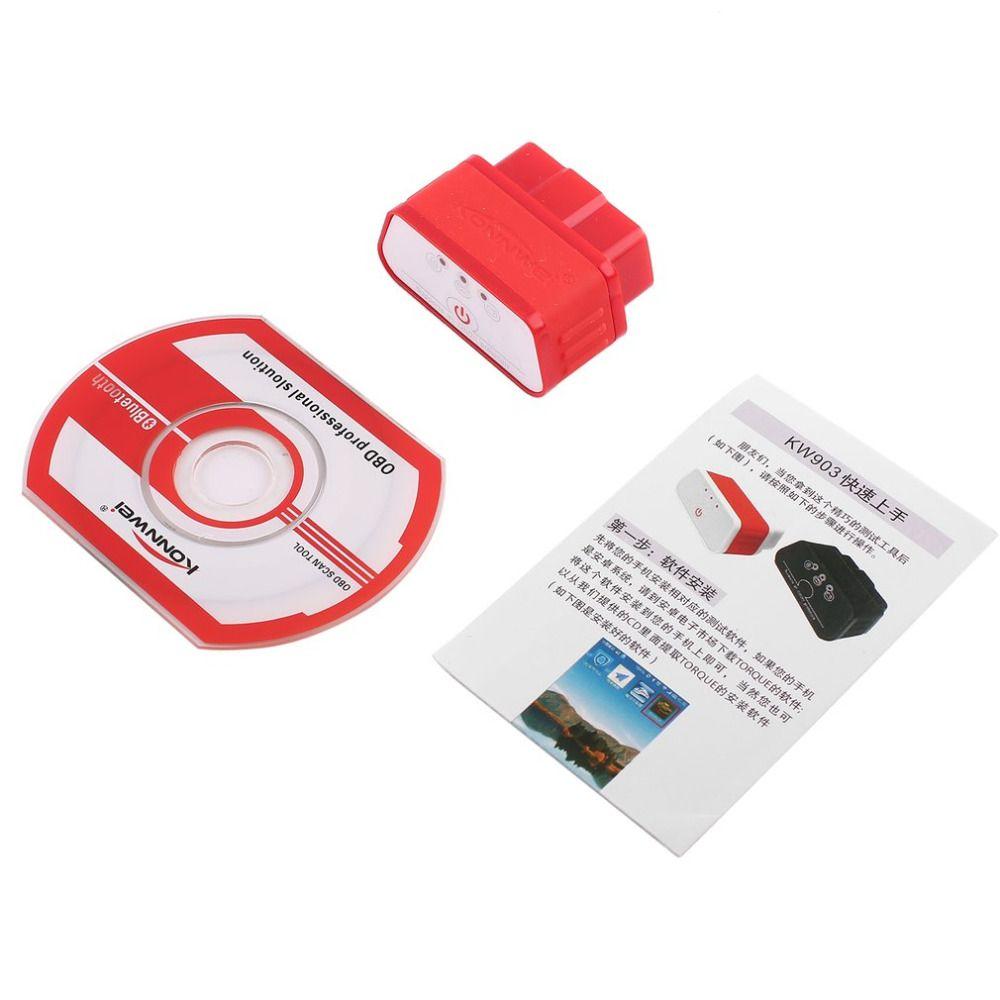 Konnwei KW903 ELM327 Bluetooth ODB2 Auto Auto Diagnose Scanner Detector Tool Code Reader OBDII Auto Scanner