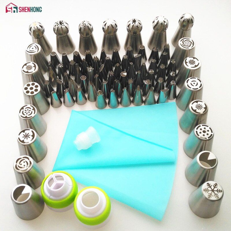SHENHONG 77PCS Icing Piping Tips Set 1 Pcs Silicone Bag 3 Coupler Russian Tulip Nozzles Cupcake Cake Decorating DIY Dessert
