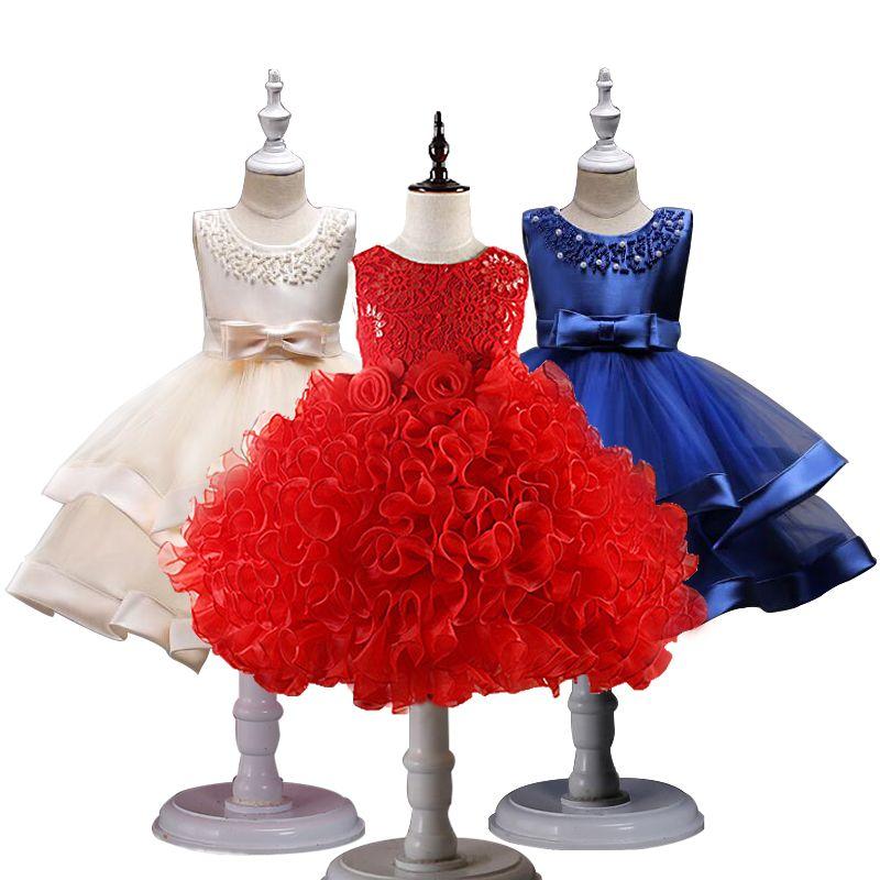 Niñas flores princesa bola bodas vestido princesa vestido niños ropa Niñas Vestidos para Navidad Año Nuevo custumes