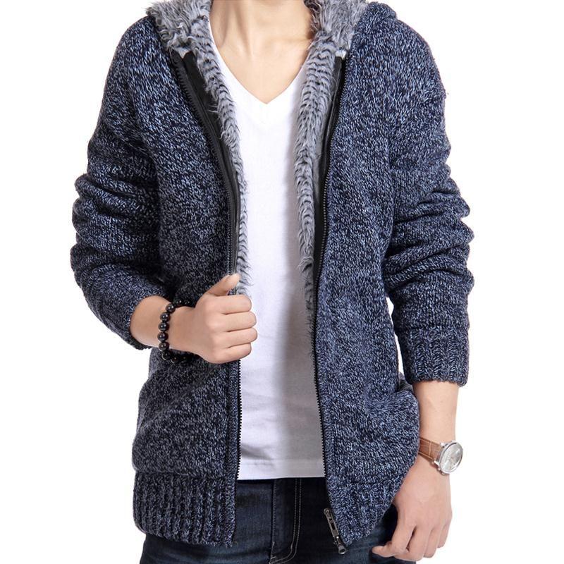 Куртка Для мужчин толстый бархат с капюшоном Мех животных Куртки Для мужчин зимний мягкий Повседневное вязаный свитер пальто-кардиган паль...