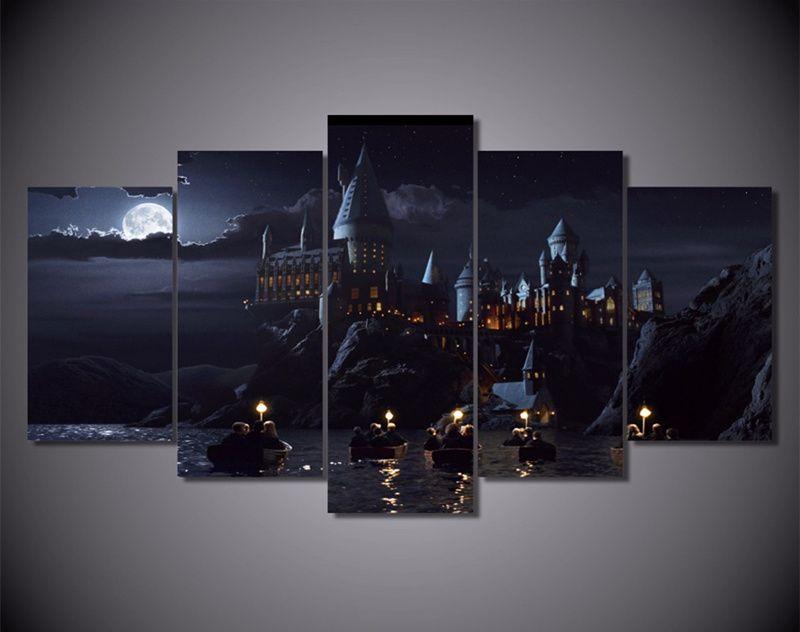 5 шт. стены Книги по искусству отпечатки на холсте Гарри Поттер школа кино Плакаты настенная живопись модульная Книги по искусству изображе...