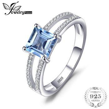 JewelryPalace 1.4ct Princesa Cut Céu Azul Topázio Anel Aniversário de Casamento de Moda Para As Mulheres 925 Prata Esterlina Jóias Da Moda