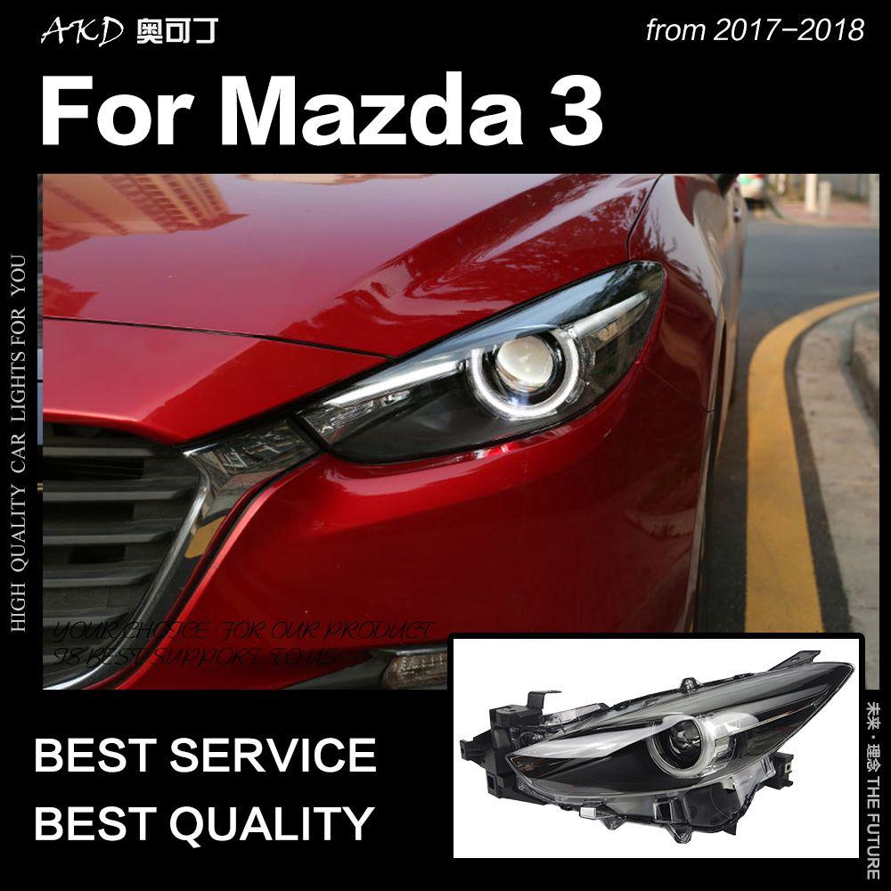 AKD Auto Styling Kopf Lampe für Mazda 3 Scheinwerfer 2017-2018 Neue Mazda3 Axela LED Scheinwerfer LED DRL Hid bi Xenon Auto Zubehör