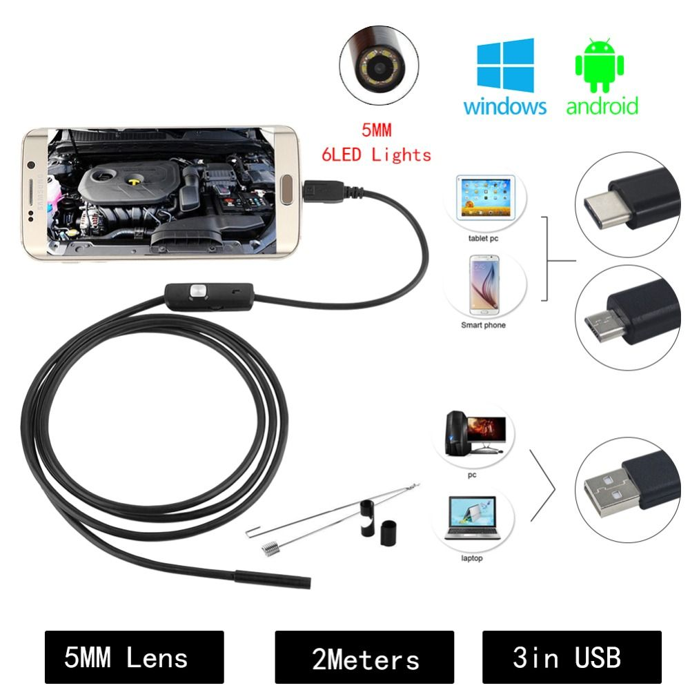 Waterproof USB Android Endoscope Mini HD Camera 5.5mm USB Wire Snake Tube Inspection Borescope for Android, Windows & Macbook