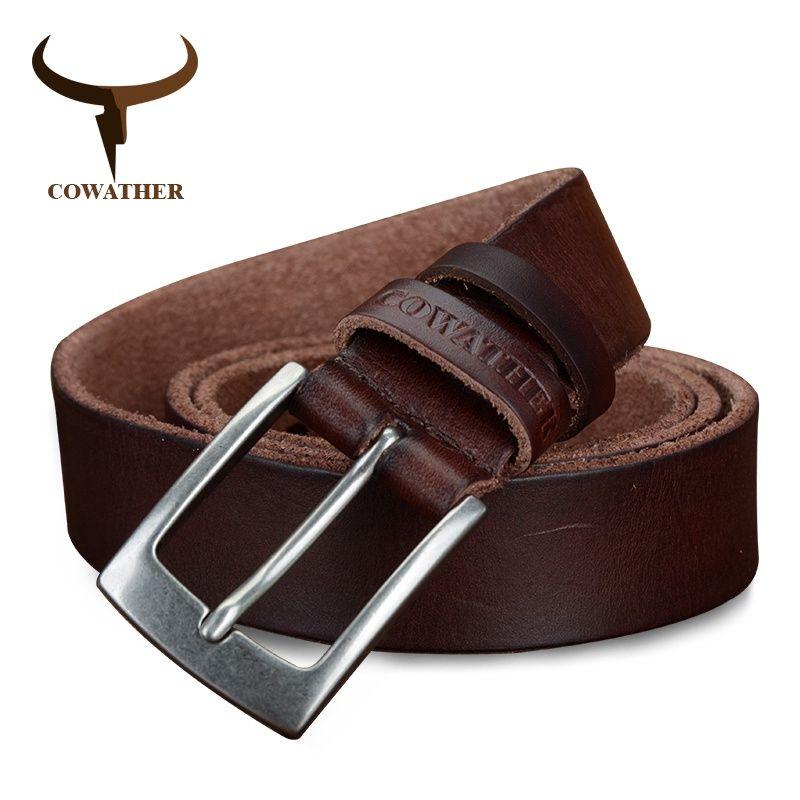 COWATHER top cow genuine leather men belts 2017 newest <font><b>arrival</b></font> three color hot design jeans belt for male original brand