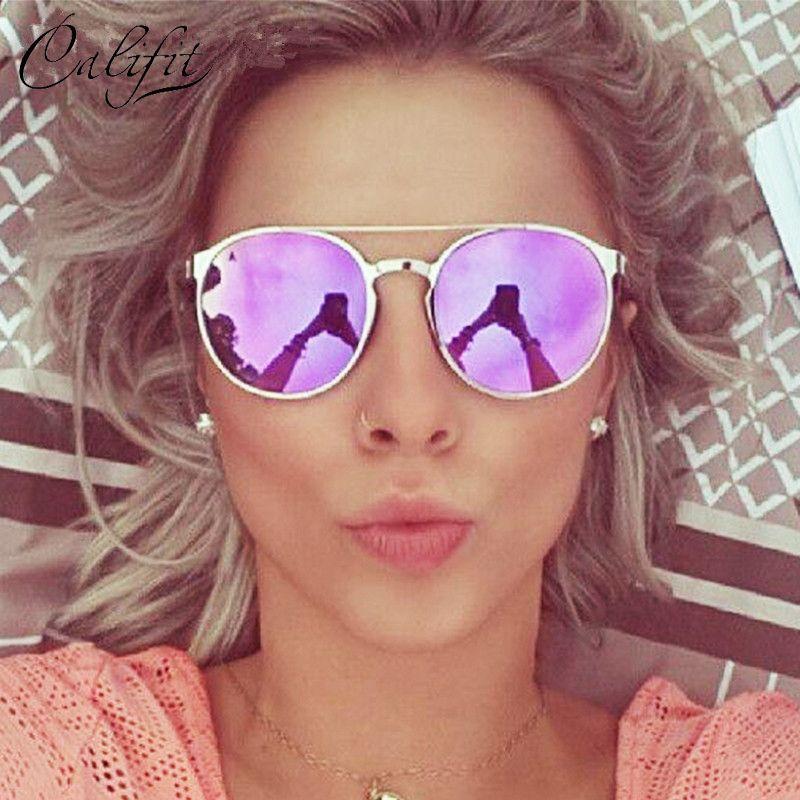 CALIFIT Dames Rose Miroir lunettes de soleil rondes Femmes De Luxe Marque Designer Lunette 2018 Nouveau lunettes de soleil Pour Femmes UV400 Parasoleil