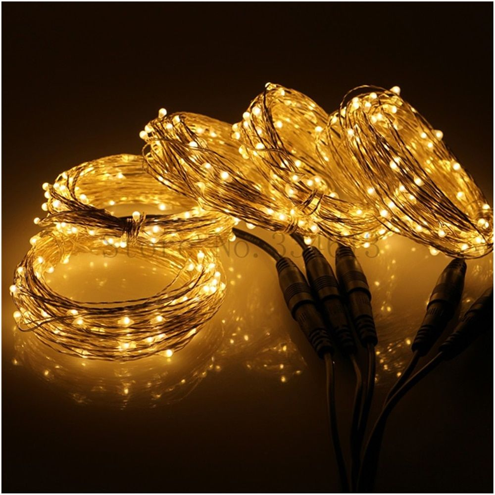 5*10M/33FF 100 LED Connectable Outdoor Christmas Starry Lights Silver Wire Indoor Holiday String Lights 500 LED + Power Adapter