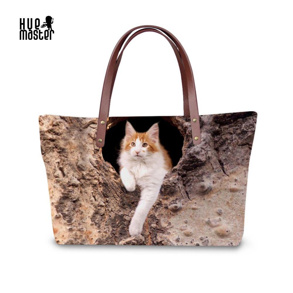 Cat Printing  Ladies Tote Bag Waterproof Women's Handbags shopping Bag Zipper Pocket  High Elastic Material Casual bags