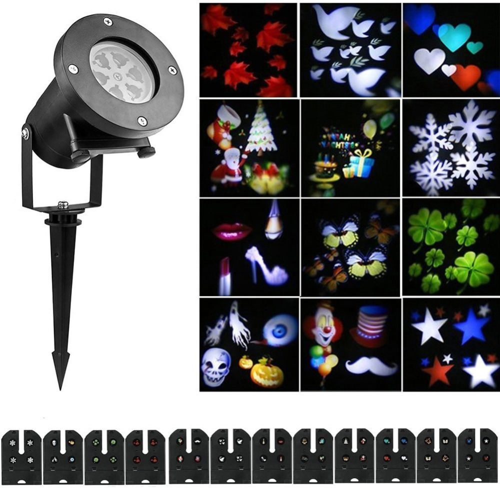 Christmas Decoration LED Moving Snowflake 12 replaceable pattern Projector DJ Stage Light for Home Xmas Garden Outdoor Landscape