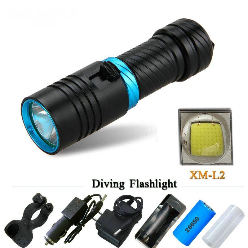 CREE XM-L2 18650 or <font><b>26650</b></font> Diving flashlight LED Underwater Flashlights Waterproof Portable Lantern Lights dive light Lamp Torch