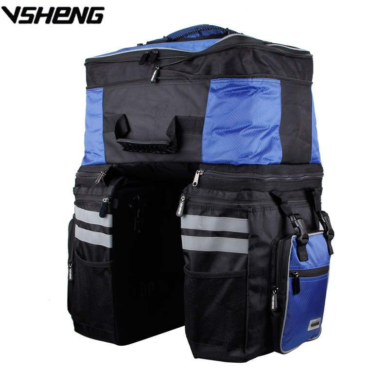 VSHENG Large Capacity Removable Cycling Bag Rain Cover Bicycle Rear Tail Bag Travel Cycling Storage Rack Trunk Bag Bike Pack A2