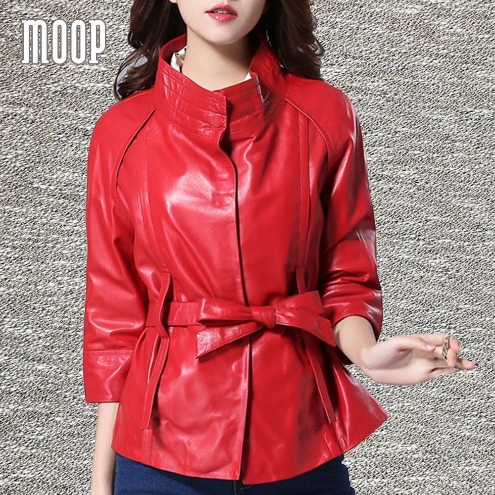 Red genuine leather jacket sheepskin lamb leather coat with sashes veste en cuir femme jaqueta de couro chaqueta mujer LT1220