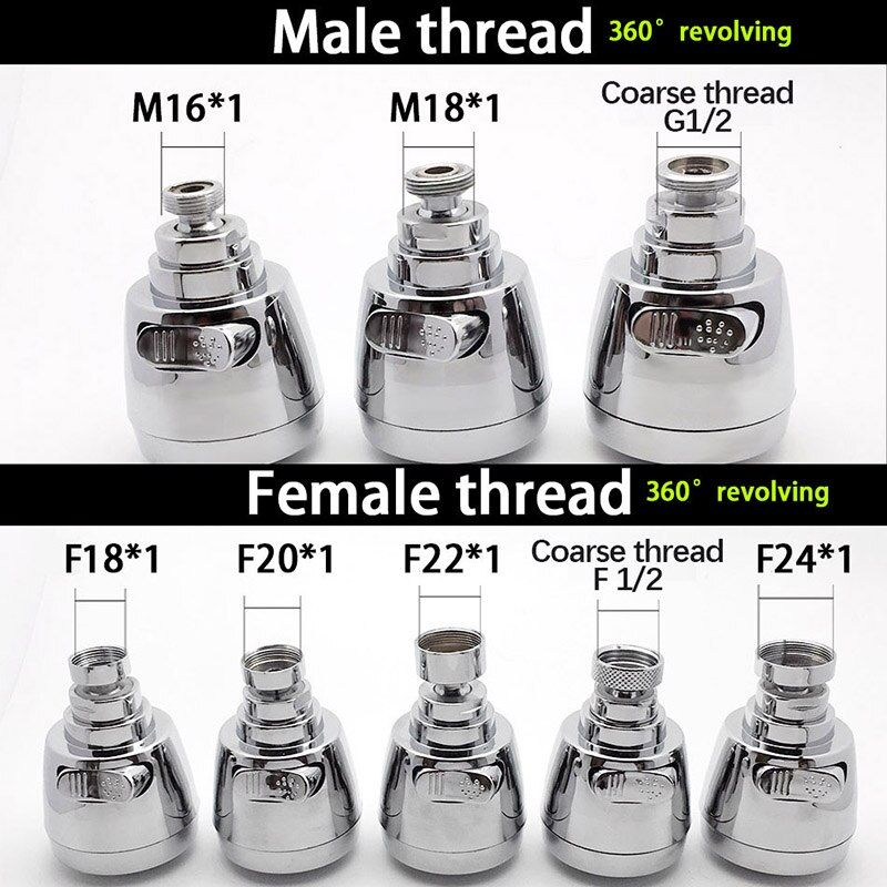 WASOURLF 360 robinet aérateur robinet adaptateur cuisine robinet douche Chrome bec douche M18 M20 M22 M24 filetage femelle accessoires