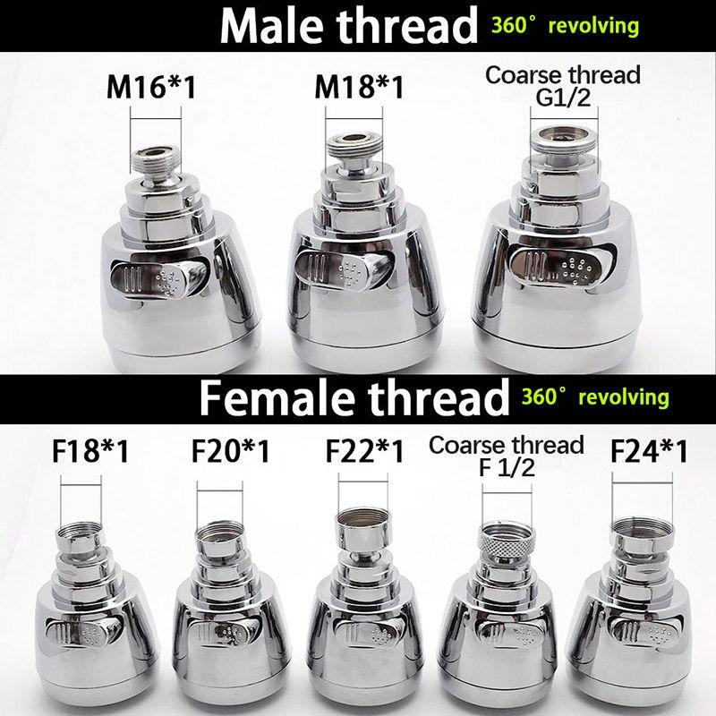 WASOURLF 360 robinet aérateur robinet adaptateur cuisine robinet tête de douche Chrome bec douche M18 M20 M22 M24 filetage femelle accessoires