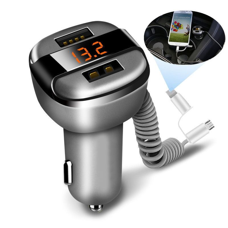 Multifonction 12 V-24 V LED affichage 2 ports double USB chargeur de voiture pour iPhone 6 6 S Plus Samsung Galaxy S7 S6 Note 3 2 LG G2 HTC ONE