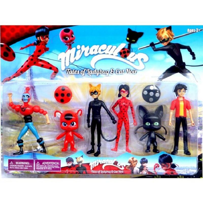 6Pcs Miraculous Ladybug 3.5-5.5Inch PVC Lady bug  Figures Toys Kids Collection Doll Gift