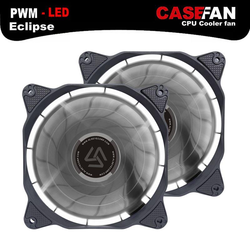 ALSEYE 120mm Fan Computer PWM 4pin LED Cooling Fan (2 pieces/lot) 700-1800RPM DC 12v 12025 Fans