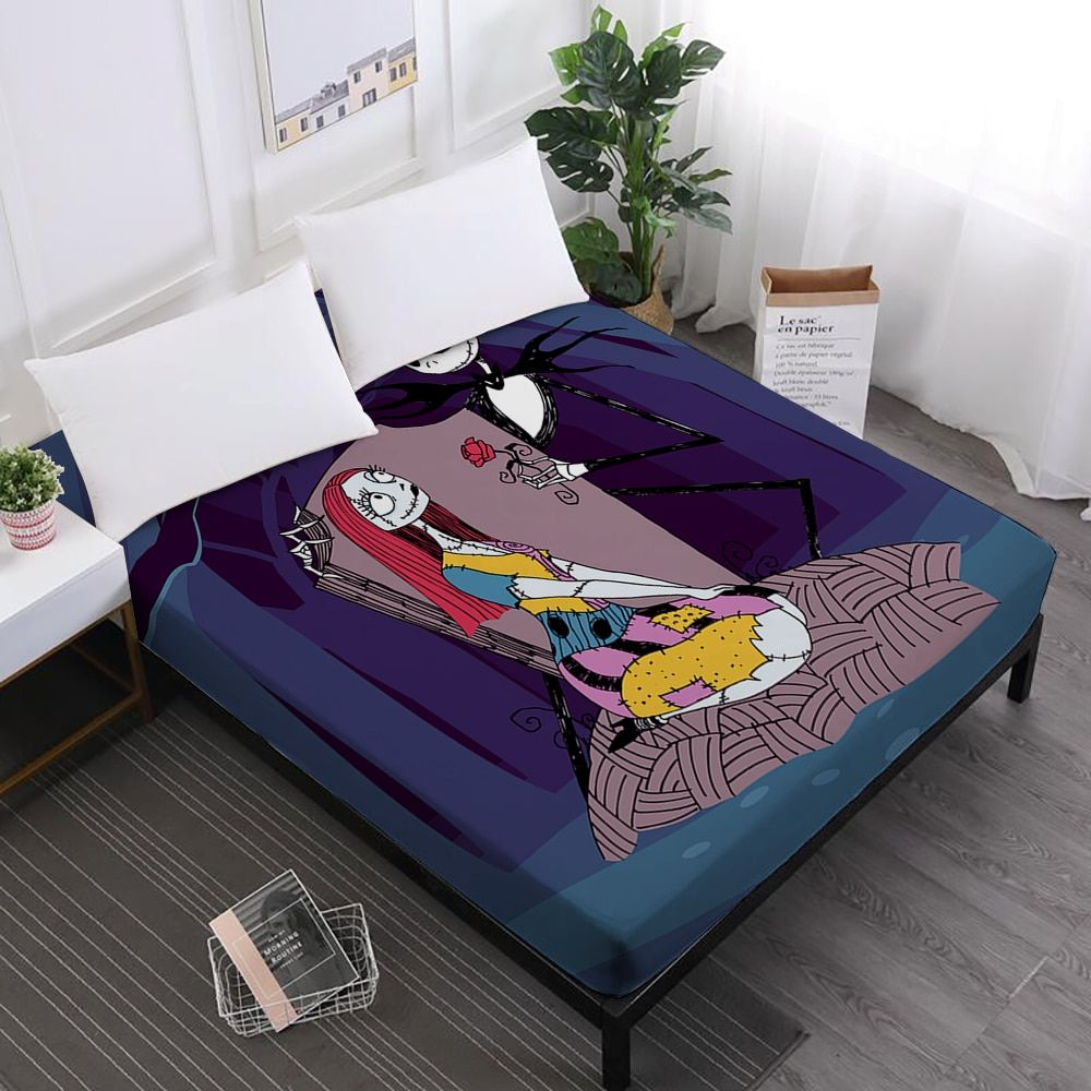 Couples Skeleton Bed Sheet Grim Reaper Print Fitted Sheet Halloween Mattress Cover Horrible Bedclothes Elastic Band D30