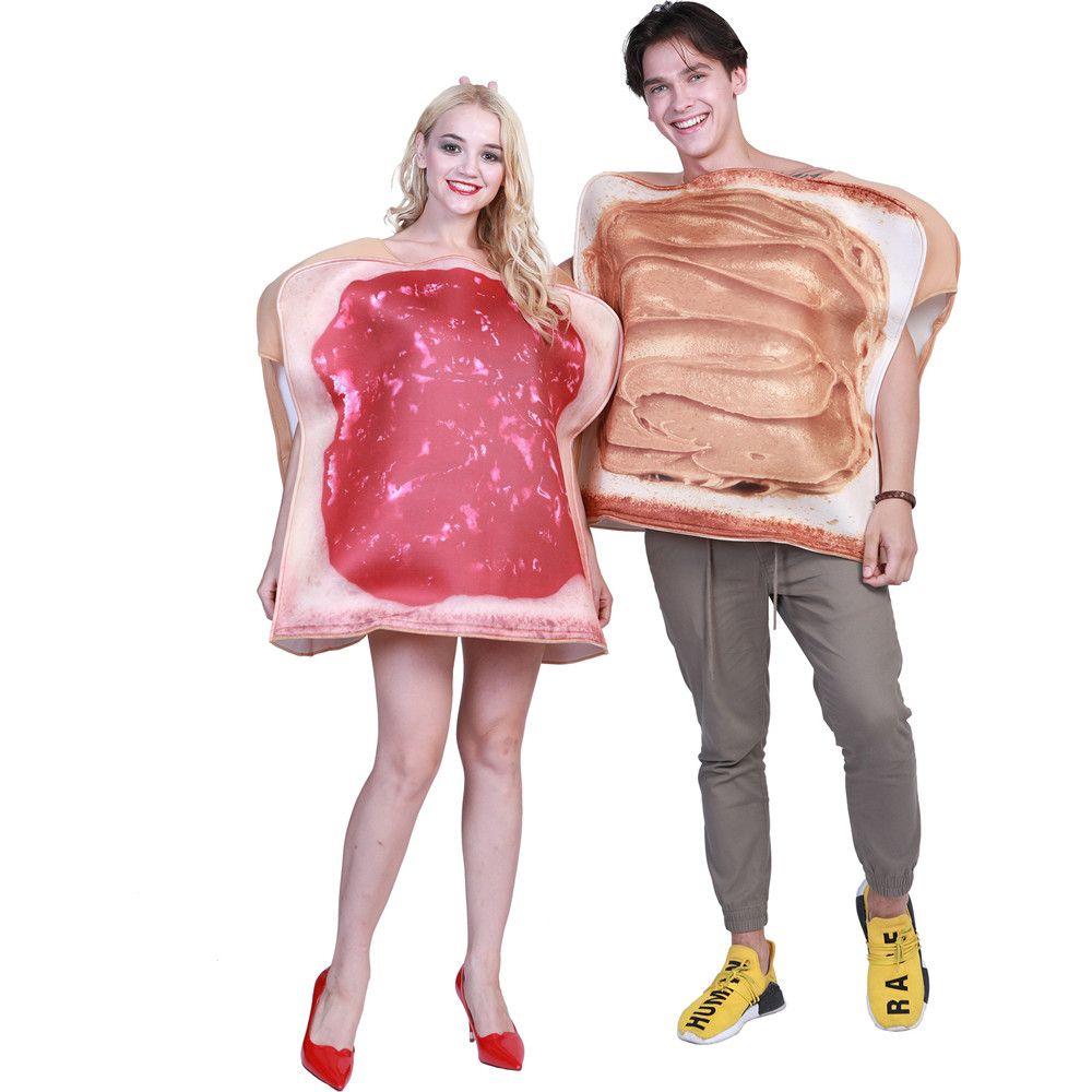 Sandwich Paare Kostüm Erdnuss Butter und Marmelade Toast Lebensmittel Lustige Phantasie Kleid Erwachsene 2 stücke Set Karneval Halloween Party Kostüm